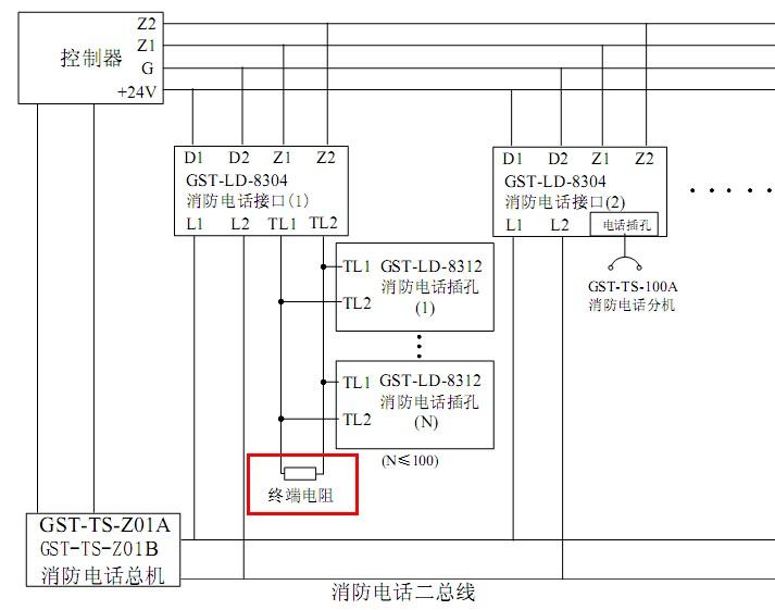 海湾电话插孔8312接线末端接4.7kΩ终端电阻
